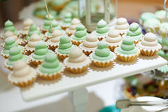 Green wedding cup cakes Royalty Free Stock Photo