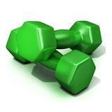 Green weights. Isolated on white background Royalty Free Stock Photo