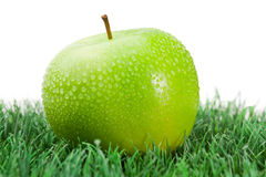 Green wet apple on grass Royalty Free Stock Images