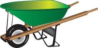 Green wheelbarrow. Three dimensional illustration of green wheelbarrow isolated on white background Stock Images
