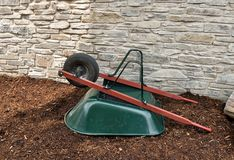 Green Wheelbarrow Stock Photography