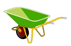 Green Wheelbarrow Royalty Free Stock Photos