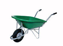Green wheelbarrow stock photo