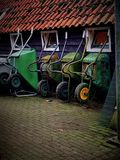 Green wheelbarrows Royalty Free Stock Photo