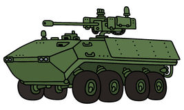 Green wheeler armoured vehicle. Hand drawing of a green wheeler armoured vehicle - not a real model Royalty Free Stock Image