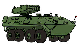 Green wheeler armoured vehicle. Hand drawing of a green wheeler armoured vehicle - not a real model Stock Photography