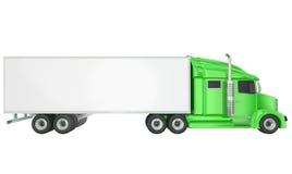 Green 18 Wheeler Class 8 Truck Blank Copy Space Trailer Royalty Free Stock Photos