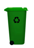 Green wheely aka wheelie bin, isolated over white Royalty Free Stock Photo