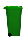 Green wheely aka wheelie bin, isolated over white Royalty Free Stock Photo
