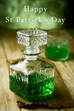 Green whiskey and text happy st patricks day Royalty Free Stock Images