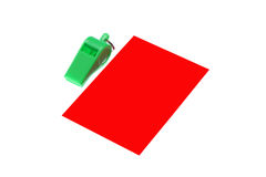 Green whistle. Green plastic whistle and red card on white background Stock Photo