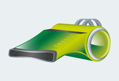 Green whistle. Vector illustration modern green whistle Royalty Free Stock Image
