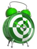 Green and white alarm clock. With an abstract face, isolated on a white background Royalty Free Stock Photography