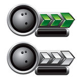 Green and white arrow nameplate with bowling ball Royalty Free Stock Images