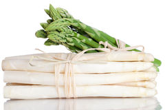 Green and white Asparagus. Isolated on white Stock Photo