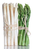 Green and white Asparagus. Isolated on white Royalty Free Stock Photography