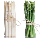 Green and white Asparagus. Isolated on white Stock Image