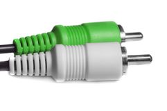 Green white audio video jacks Royalty Free Stock Images