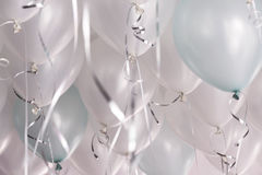 Green and white balloons in the party. Celebrate time stock photos