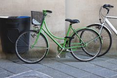 Green and white bikes Royalty Free Stock Photo