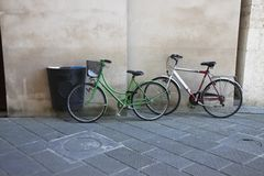 Green and white bikes Stock Image