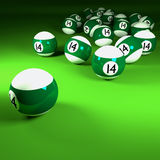 Green white billiard balls number fourteen Stock Photography