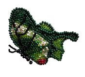 Green with white and black butterfly beads. Butterfly with green white and black wing flies beads needlework embroidery royalty free stock photography