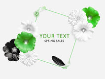 Green, white, black flowers and black petal on circle background. Mallow, Rudbeckia flowers and dahlia flowers. Royalty Free Stock Image