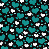Green, White and Black Hearts Tile Pattern Repeat Background Stock Photo