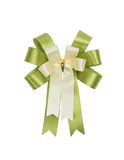Green and white  bow. Isolated on white with copy space Royalty Free Stock Image