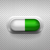 Green and white capsule pill with background Royalty Free Stock Photos