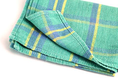 Green white checkered dishcloth, wiper isolated on white backgro. Und Royalty Free Stock Photography