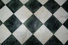 Green and white checkered marble floor pattern Royalty Free Stock Images