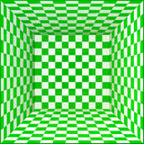 Green and white chessboard walls room background Royalty Free Stock Images