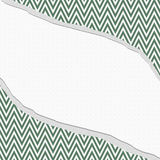 Green and White Chevron  Zigzag Frame with Torn Background Stock Photos