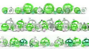 Green and white christmas baubles collection lined up 3D renderi. Green and white christmas baubles collection lined up on white background 3D rendering Stock Photography