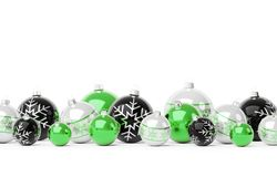 Green and white christmas baubles isolated 3D rendering vector illustration