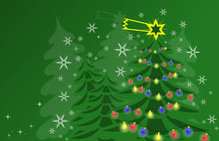 Green and white christmas card. With tree and stars Stock Images