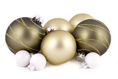 Green and white christmas decorations. Green and white christmas balls or decorations, on  a white background Stock Photos