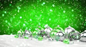 Green and white christmas gifts and baubles lined up 3D renderin. Green and white christmas gifts and baubles lined up on snowy background 3D rendering Stock Illustration