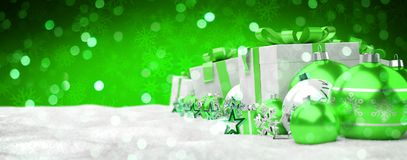 Green and white christmas gifts and baubles lined up 3D renderin. Green and white christmas gifts and baubles lined up on snowy background 3D rendering vector illustration