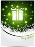 Green white christmas greeting with bursting gift box Royalty Free Stock Photos