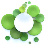 Green and white circle background. Abstract background with white and green transparent disks Vector Illustration