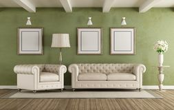 Green and white classic living room. With elegant sofa and armchair - 3d rendering Royalty Free Stock Images