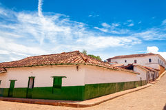 Green and White Colonial Buildings Royalty Free Stock Photos