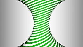 Green and white concave rotating cylinder with hypnotic effects stock footage