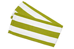 Green and white cotton napkin, on white background Royalty Free Stock Images