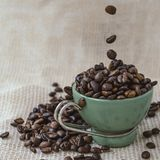 Green cup among a lot of coffee beans. Green and white cup among a lot of coffee beans stock images