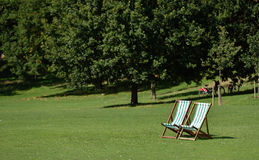 Green and White DeckChairs Royalty Free Stock Photography