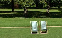 Green and White DeckChairs Royalty Free Stock Images